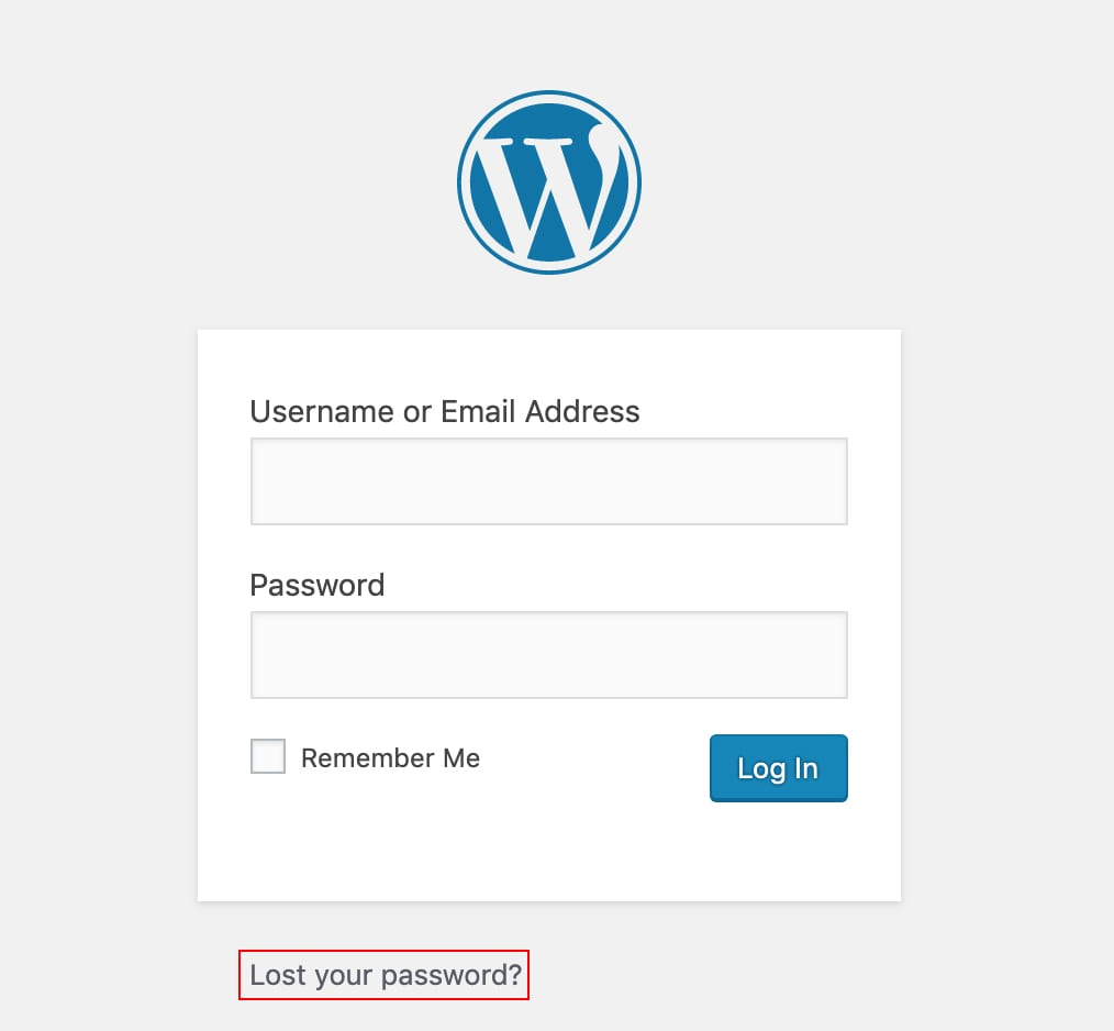 wordpress lost password